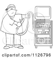 Cartoon Of An Outlined Proctologist Doctor With Colonoscopy Equipment Royalty Free Vector Clipart