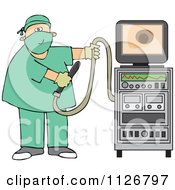 Cartoon Of A Proctologist Doctor With Colonoscopy Equipment Royalty Free Vector Clipart by Dennis Cox