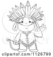Cartoon Of A Outlined Cute Native American Indian Archer Boy Waving Royalty Free Vector Clipart