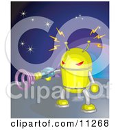 Poster, Art Print Of Yellow Robot Shooting A Gun While On A Planet In Space