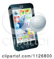Clipart Of A 3d Golf Ball Flying Through And Breaking A Cellphone Screen Royalty Free Vector Illustration