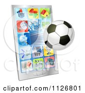 Clipart Of A 3d Soccer Ball Flying Through And Breaking A Cell Phone Screen Royalty Free Vector Illustration