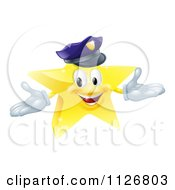 Clipart Of A 3d Police Star Mascot Royalty Free Vector Illustration