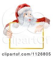 Clipart Of A Happy Santa Holding And Pointing Down At A Sign Royalty Free Vector Illustration