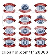 Clipart Of Red And Blue Awards With Text On Banners Royalty Free Vector Illustration by AtStockIllustration