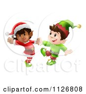 Clipart Of Happy Christmas Elves Dancing Together Royalty Free Vector Illustration by AtStockIllustration