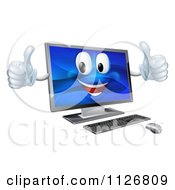 Clipart Of A Happy Desktop Computer Mascot Holding Two Thumbs Up Royalty Free Vector Illustration by AtStockIllustration