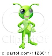 Clipart Of A Friendly Green Alien With Its Hands On Its Hips Royalty Free Vector Illustration