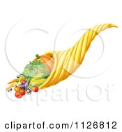 Thanksgiving Or Fall Cornucopia Horn Of Plenty With Harvest Produce