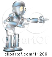 Friendly Futuristic Robot Gesturing With Both Arms Clipart Illustration by AtStockIllustration