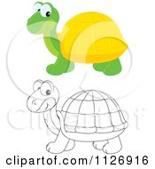 Cartoon Of Colored And Outlined Cute Tortoises Royalty Free Vector Clipart by Alex Bannykh