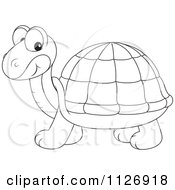 Cartoon Of An Outlined Cute Tortoise Royalty Free Vector Clipart by Alex Bannykh