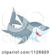 Cartoon Of A Grinning Shark Royalty Free Clipart