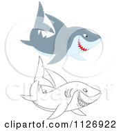 Cartoon Of Colored And Outlined Sharks Royalty Free Vector Clipart