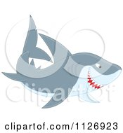 Cartoon Of A Smiling Shark Royalty Free Vector Clipart by Alex Bannykh