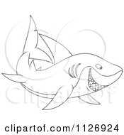Cartoon Of An Outlined Happy Shark Royalty Free Vector Clipart