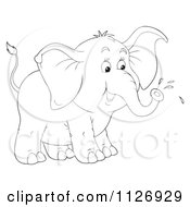 Cartoon Of Colored And Outlined Elephants Squirting From Their Trunks Royalty Free Clipart