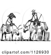 Men On A Horse And Donkey Black And White Woodcut