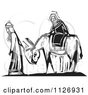 Clipart Of Joesph Leading Mary On A Donkey Black And White Woodcut Royalty Free Vector Illustration