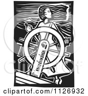 Clipart Of A Female Pirate At The Helm Black And White Woodcut Royalty Free Vector Illustration by xunantunich #COLLC1126932-0119