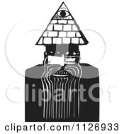 Clipart Of A May With A Spiritual Third Eye Black And White Woodcut Royalty Free Vector Illustration