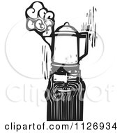 Clipart Of A Man With A Coffee Percolator Head Black And White Woodcut Royalty Free Vector Illustration