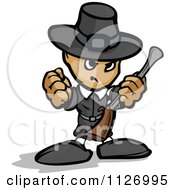 Cartoon Of A Tough Thanksgiving Pilgrim Holding Up A Fist And Rifle Royalty Free Vector Clipart