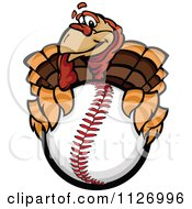 Cartoon Of A Turkey Bird Mascot Holding A Baseball Royalty Free Vector Clipart