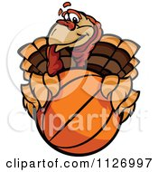 Cartoon Of A Turkey Bird Mascot Holding A Basketball Royalty Free Vector Clipart