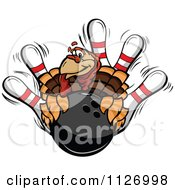 Cartoon Of A Turkey Bird Mascot With A Bowling Ball And Pins Royalty Free Vector Clipart