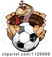 Cartoon Of A Turkey Bird Mascot Holding Out A Soccer Ball Royalty Free Vector Clipart by Chromaco