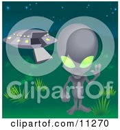 One Grey Alien With Green Eyes Waving And Standing Near A UFO Clipart Illustration by AtStockIllustration