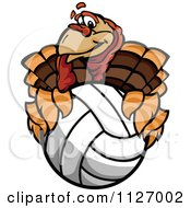 Cartoon Of A Turkey Bird Mascot Holding A Volleyball Royalty Free Vector Clipart
