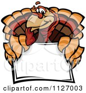 Cartoon Of A Turkey Bird Mascot Over A Sign Royalty Free Vector Clipart