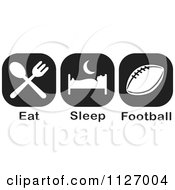 Cartoon Of A Black And White Eat Sleep Football Icons Royalty Free Vector Clipart by Johnny Sajem
