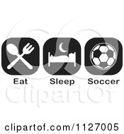 Cartoon Of A Black And White Eat Sleep Soccer Icons Royalty Free Vector Clipart by Johnny Sajem