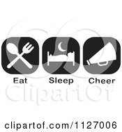 Cartoon Of A Black And White Eat Sleep Cheer Icons Royalty Free Vector Clipart