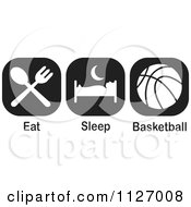 Cartoon Of A Black And White Eat Sleep Basektball Icons Royalty Free Vector Clipart by Johnny Sajem