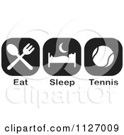 Cartoon Of A Black And White Eat Sleep Tennis Icons Royalty Free Vector Clipart by Johnny Sajem