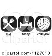 Cartoon Of A Black And White Eat Sleep Volleyball Icons Royalty Free Vector Clipart by Johnny Sajem