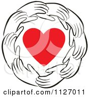 Cartoon Of A Ring Of Hands Around A Heart Royalty Free Vector Clipart