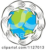 Cartoon Of A Ring Of Hands Around Earth Royalty Free Vector Clipart