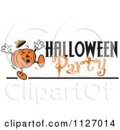 Cartoon Of A Happy Jackolantern Pumpkin With Halloween Party Text Royalty Free Vector Clipart by Johnny Sajem