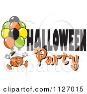 Cartoon Of A Jackolantern Pumpkin With Balloons And Halloween Party Text Royalty Free Vector Clipart