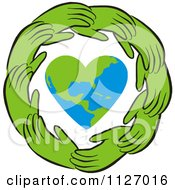 Cartoon Of A Ring Of Green Hands Around A Heart Earth Royalty Free Vector Clipart