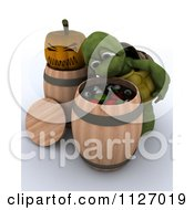 Clipart Of A 3d Halloween Tortoise Bobbing For Apples And Eyeballs Royalty Free CGI Illustration