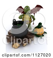 Clipart Of A 3d Devil Tortoise With A Halloween Pumpkin And Cauldron Full Of Eyeballs Royalty Free CGI Illustration