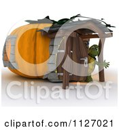 Clipart Of A 3d Tortoise At A Pumpkin Cottage House Royalty Free CGI Illustration