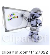 3d Robot Teacher Presenting A White Board With I Love Learning Magnets
