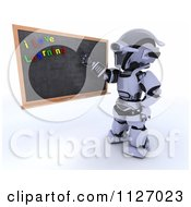 Clipart Of A 3d Robot Teacher Presenting A Black Board With I Love Learning Magnets Royalty Free CGI Illustration by KJ Pargeter